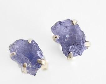 Raw Tanzanite EarringsGold EarringsNugget EarringsDangle EarringsLavender Blue EarringsDecember EarringsMother/'s Day GiftGift for Her