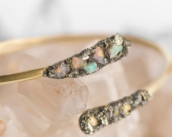 Diamond Crescent Moon Hoops with Natural Raw Herkimer Diamond and Raw Brass by Charlie Girl Gems
