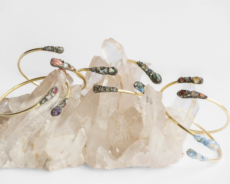 Citrine by Charlie Girl Gems Raw Gemstone Gold Wrap Bangle and Sunstone with crushed Pyrite Champagne Topaz