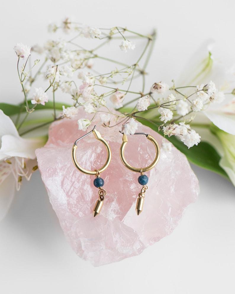 Love Not War Hoop Earrings with Rose Quartz /& Aquamarine by Charlie Girl Gems