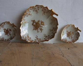 Vintage Ladies Dressing Table Tidy // Jammet Seignolles Limoges France Leaf Design