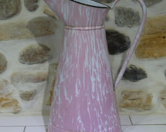 Enamel Water Pitcher Pink and White , Stunning French Water Pitcher
