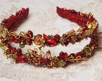 Thin bridal headband Gold red double band tiara Baroque bridal headband woman crystal bridesmaids accessory Jeweled Dolce wedding headband
