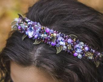 Violet Beaded headband Wedding crystal tiara bridal purple jeweled headband Baroque dolce Headband Wedding hair accessory for bridesmaids