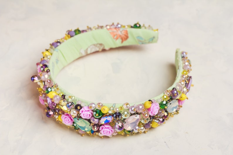Yellow purple jeweled headband Pink roses tiara Baroque headband for women Summer wedding hair accessories jewelry Bridal headpiece