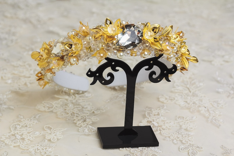 Gold jeweled headband for wedding hair accessories Beaded headbands for women Baroque Bridal crown Dolce white headband Gold tiara for bride