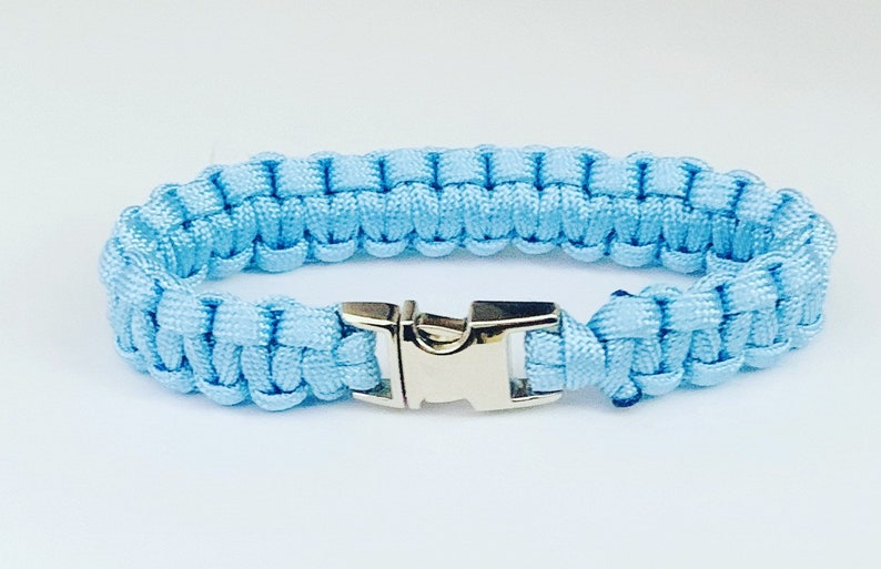 Pale Blue Paracord Bracelet with Silver Side Release Buckle