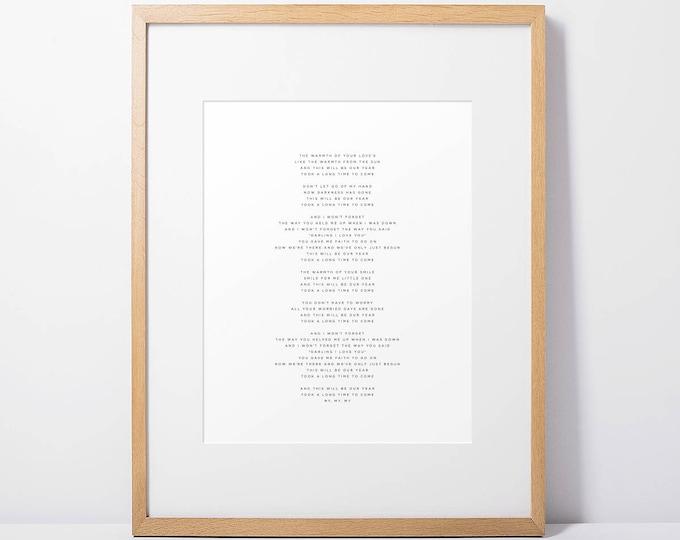 Custom Song Lyrics Art Print