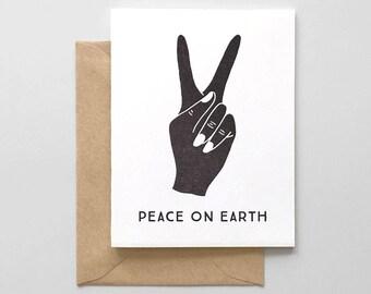 Peace On Earth Letterpress Greeting Card