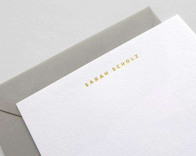 Personalized Gold Foil Stationery | San Serif Font, Custom Name