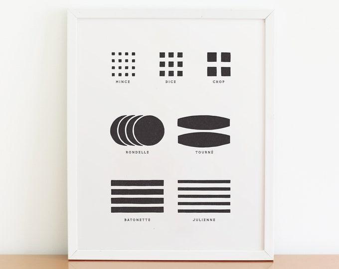 "Cutting Guide Art Print  /  8"" x 10"" Letterpress Printed"
