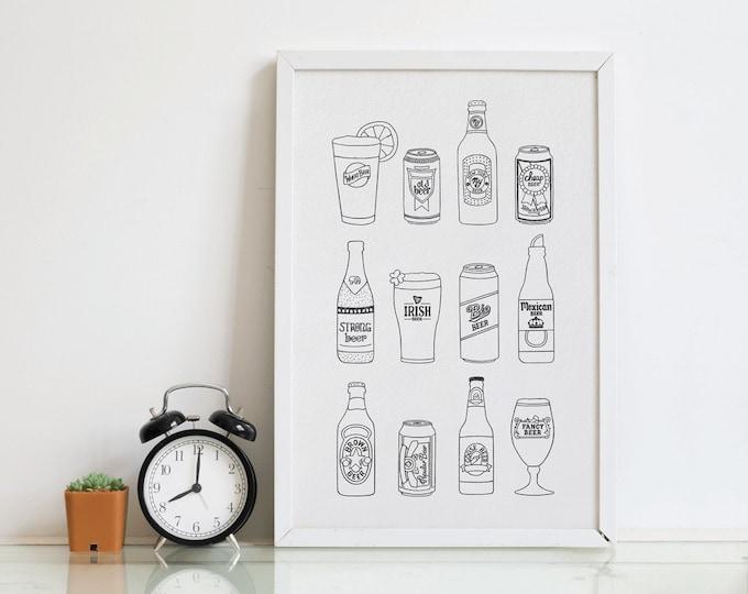 Beer Letterpress Art Print