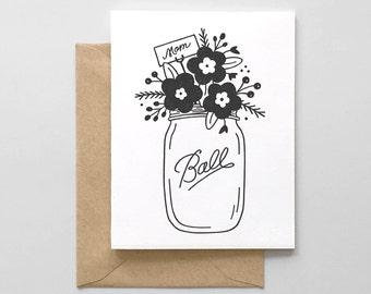 Mom Mason Jar Letterpress Mother's Day Card