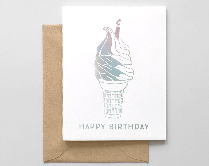Birthday Cone Iridescent Foil Stamped Greeting Card