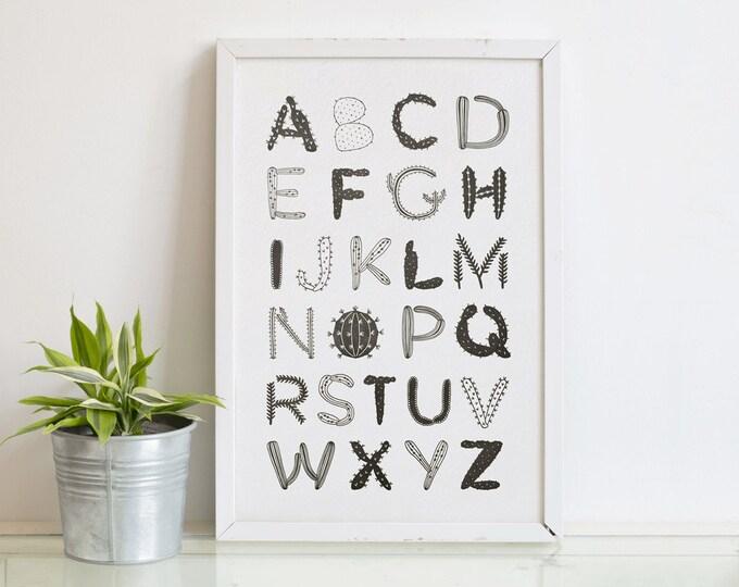 Cactus & Succulent Alphabet Letterpress Art Print