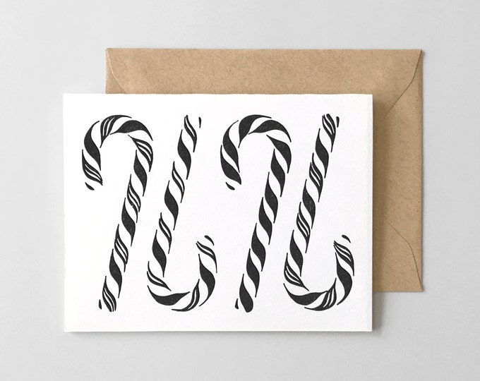 Candy Canes Letterpress Greeting Card