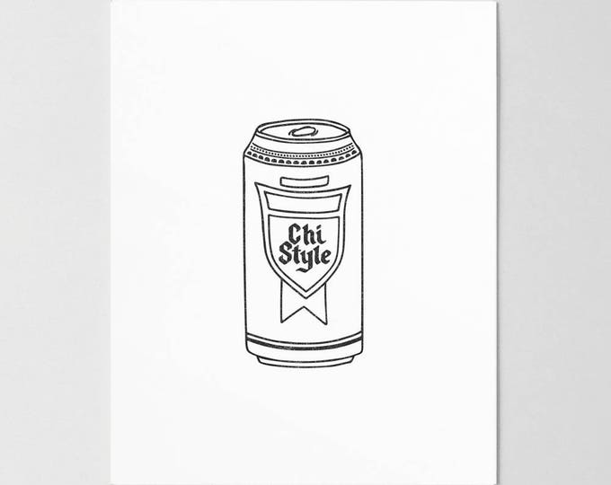 Chi Style Beer Can Letterpress Art Print