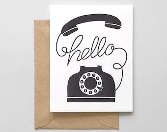 Hello Phone Letterpress Greeting Card