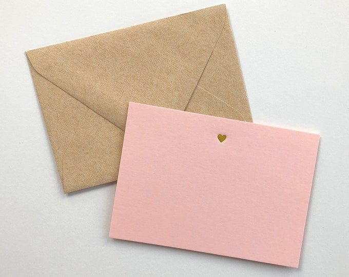Gold Foil Heart Stationery, Set of 10 Flat Notecards