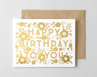 Gold Florals Foil Stamped Birthday Card