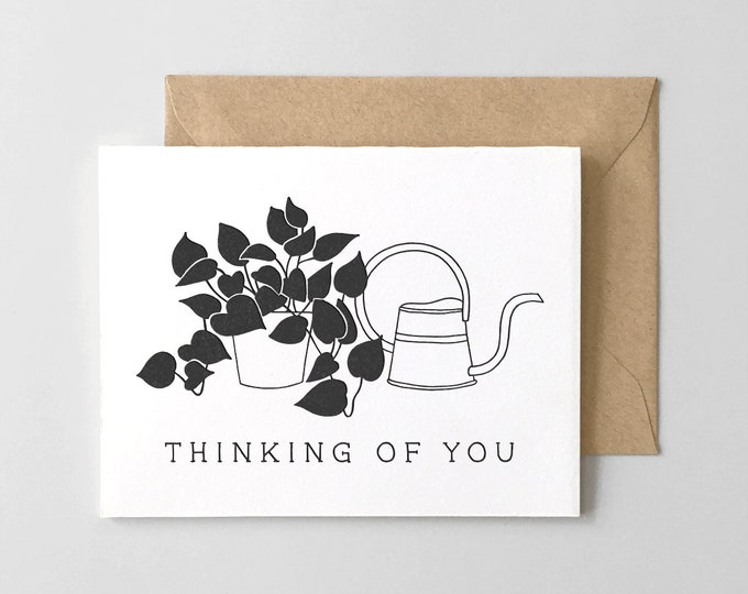 Plant & Watering Can Thinking Of You Sympathy Card // Letterpress Printed A2 Greeting Card
