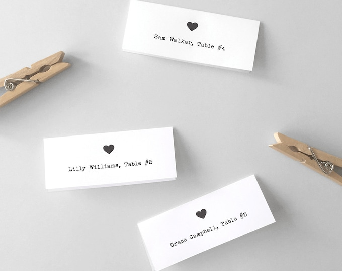 Printable Heart Place Cards or Escort Cards