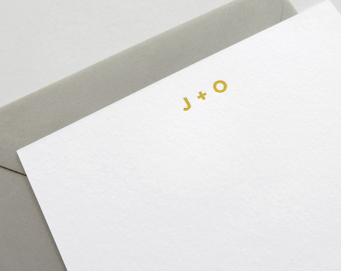 Initial Gold Foil Stationery