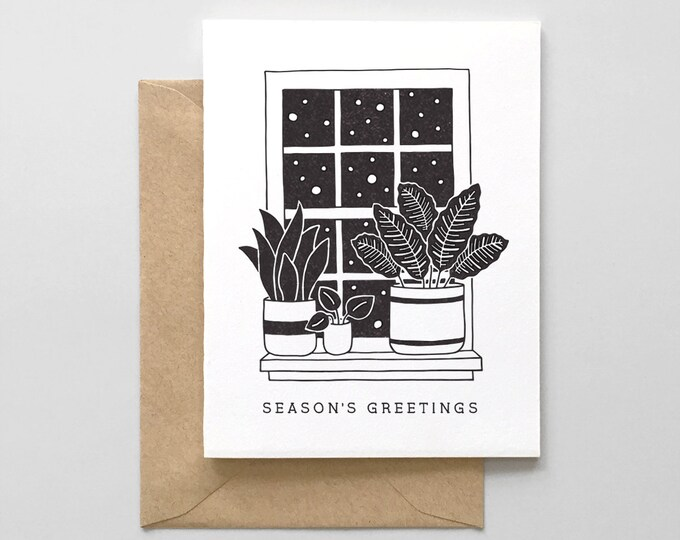Snowy Window With Plants Letterpress Holiday Card