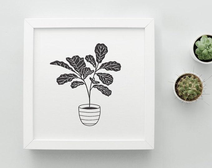 Fiddle Leaf Fig Letterpress Art Print