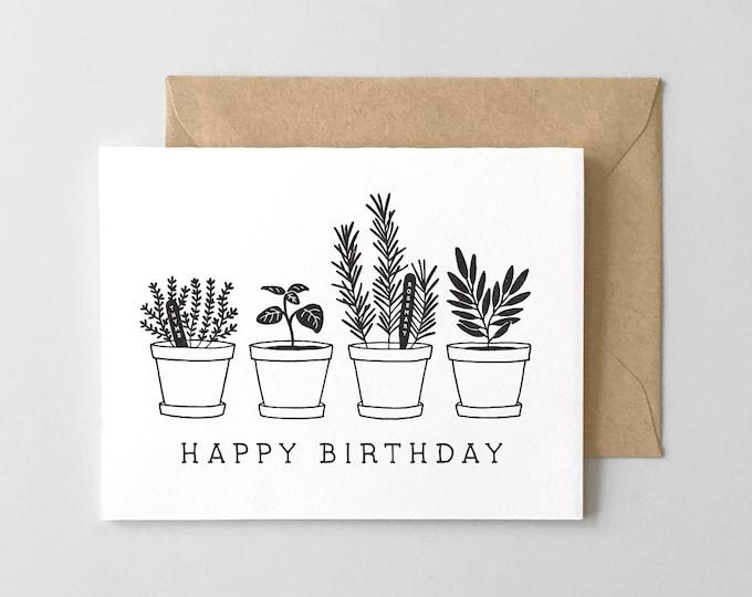 Happy Birthday Herb Garden // Letterpress Greeting Card