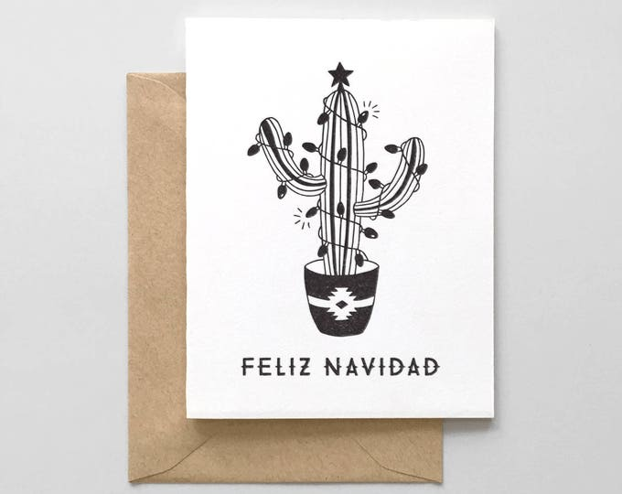 Feliz Navidad Cactus Letterpress Greeting Card