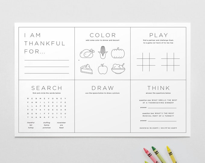 Printable Thanksgiving Placemat / Kid's Coloring And Activity Sheet