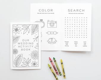 Printable Wedding Day Activity Book / Coloring Book