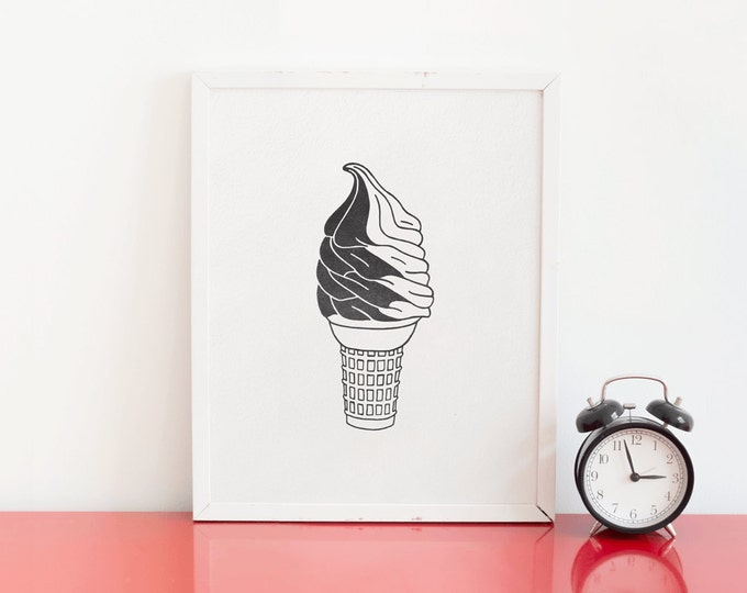 Twist Ice Cream Cone Letterpress Art Print