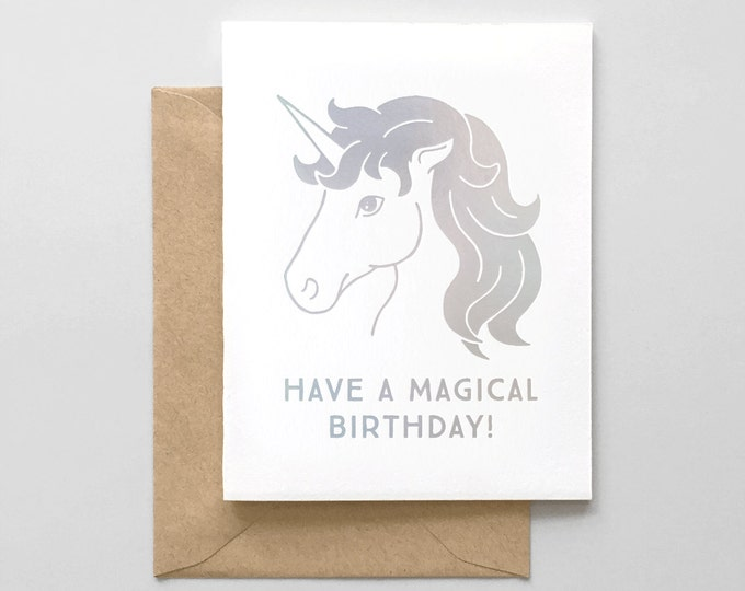 Magical Unicorn Iridescent Foil Stamped Birthday Card