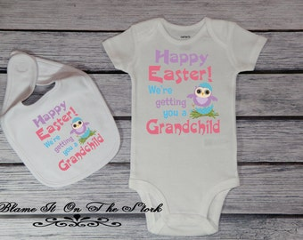 Grandchild easter etsy new grandchild announcement bodysuit new grandparents easter gift baby reveal baby bodysuit baby bib new baby bodysuit baby girl 011 negle Image collections