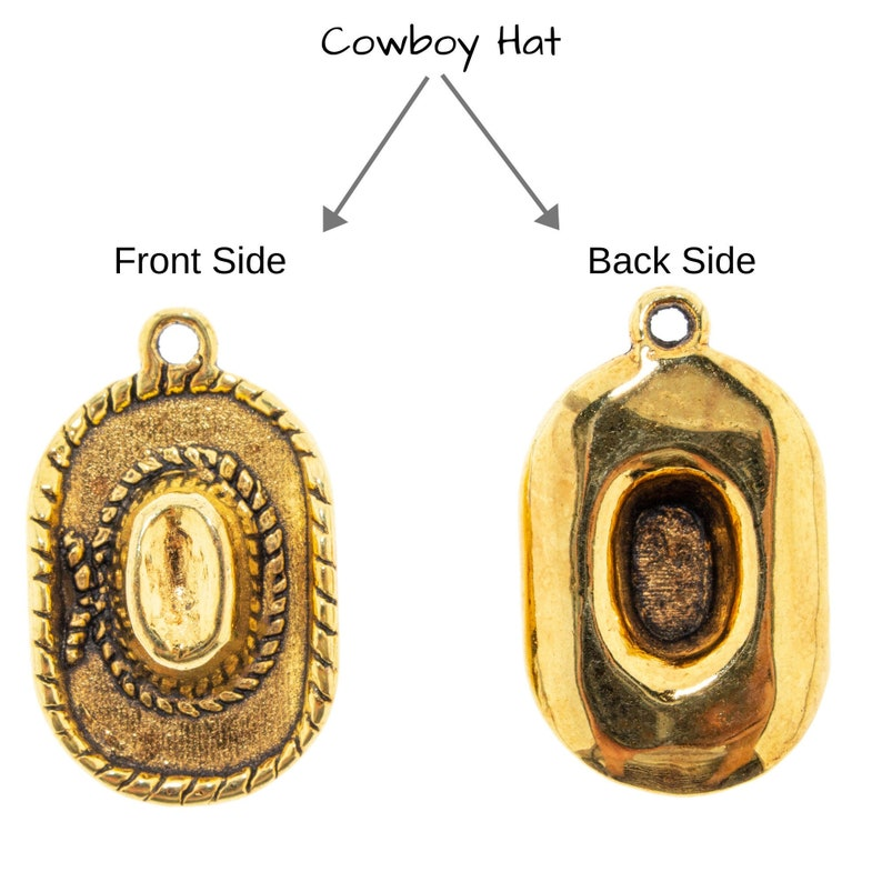 The more you buy Tridimensional charms Choose 25 the more you save Golden Cowboycowgirl Hat Charms 50 or 100 Pieces
