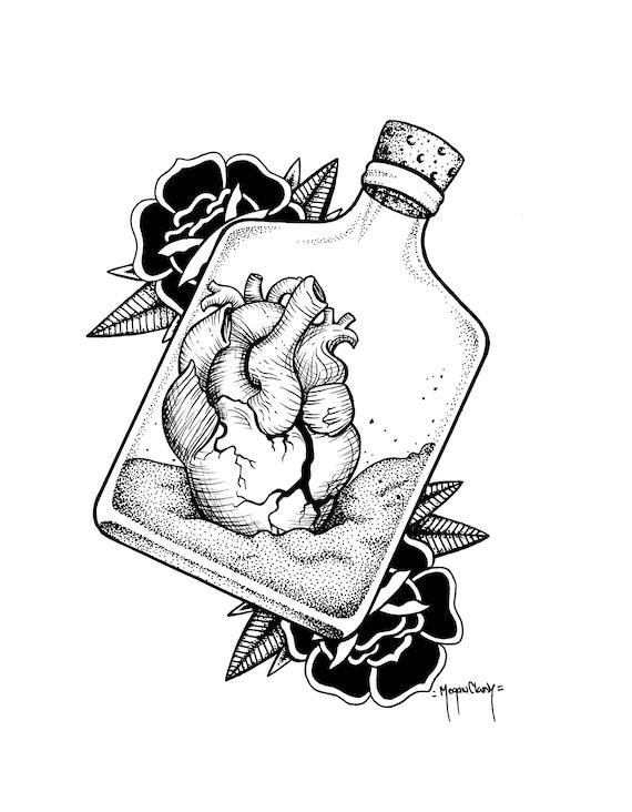 jar of dirt print anatomical heart tattoo flash tattoo art etsy Rockabilly Heart Design 50