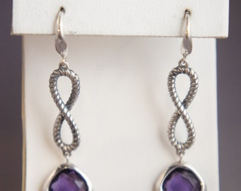 David Yurman .925 Sterling Silver Purple Amethyst Continuance Infinity Drop Dangle Earrings
