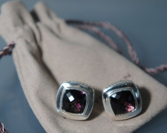 David Yurman 925 Sterling Silver 11 mm PURPLE Amethyst Large Albion Omega Back Pierced Earrings