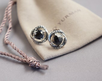 David Yurman .925 Sterling Silver Black Onyx Infinity Earrings