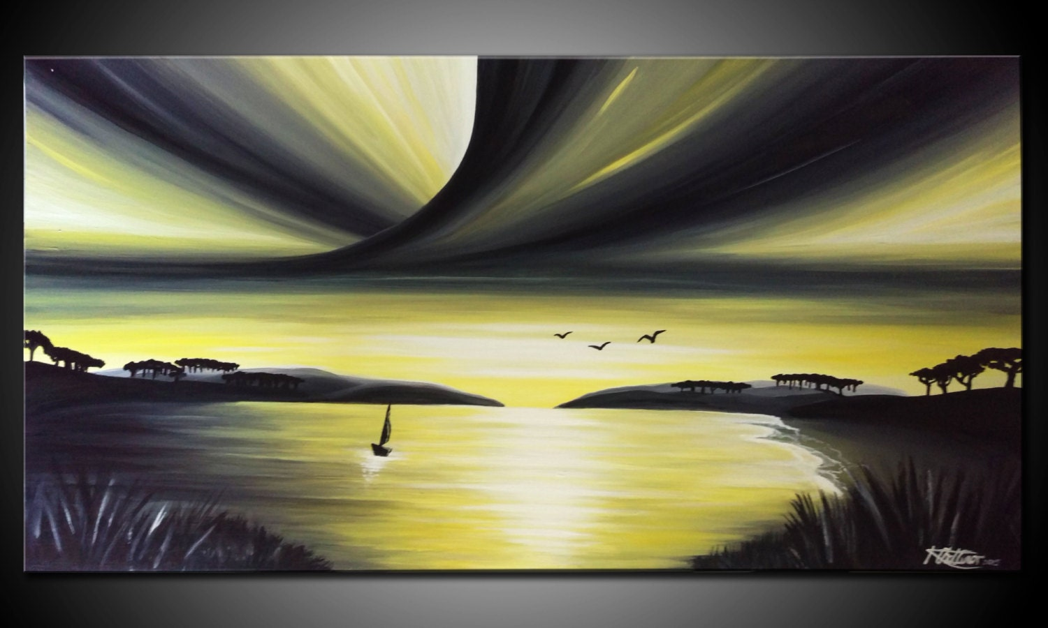 LARGE, Original, PAINTING on Canvas, landscape/Seascape, sunset ...
