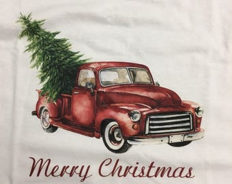 Merry Christmas Truck Old Tree In Watercolor
