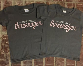 THREENAGER Official Three Year Old Teenager 3 Birthday Shirt
