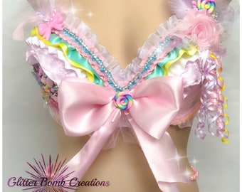 ea43612229e0f Candyland Theme Rave Bra  Candy Princess Festival Top  Pink Cotton Candy  Outfit  Cute Rhinestone Bling Cabochons  Ribbon Top MADE TO ORDER