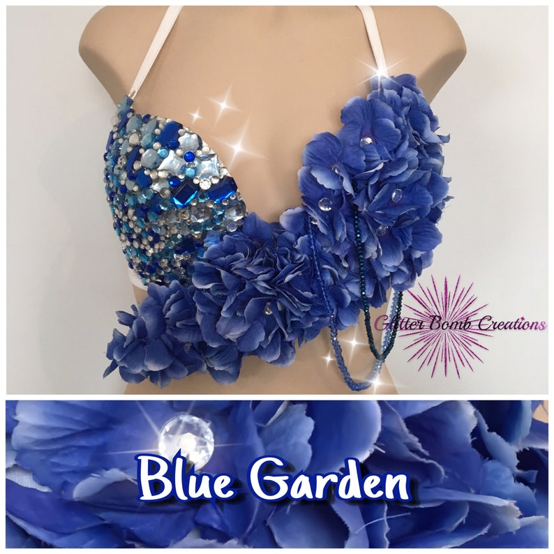 96cba84e7a3 Blue and White Rhinestone Flower Rave Bra  Jewels Festivals