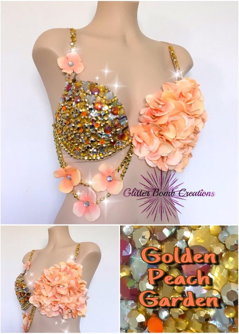 9dc98694b41a1 Gold and Peach Rhinestone Flower Rave Bra  Jewels Festivals