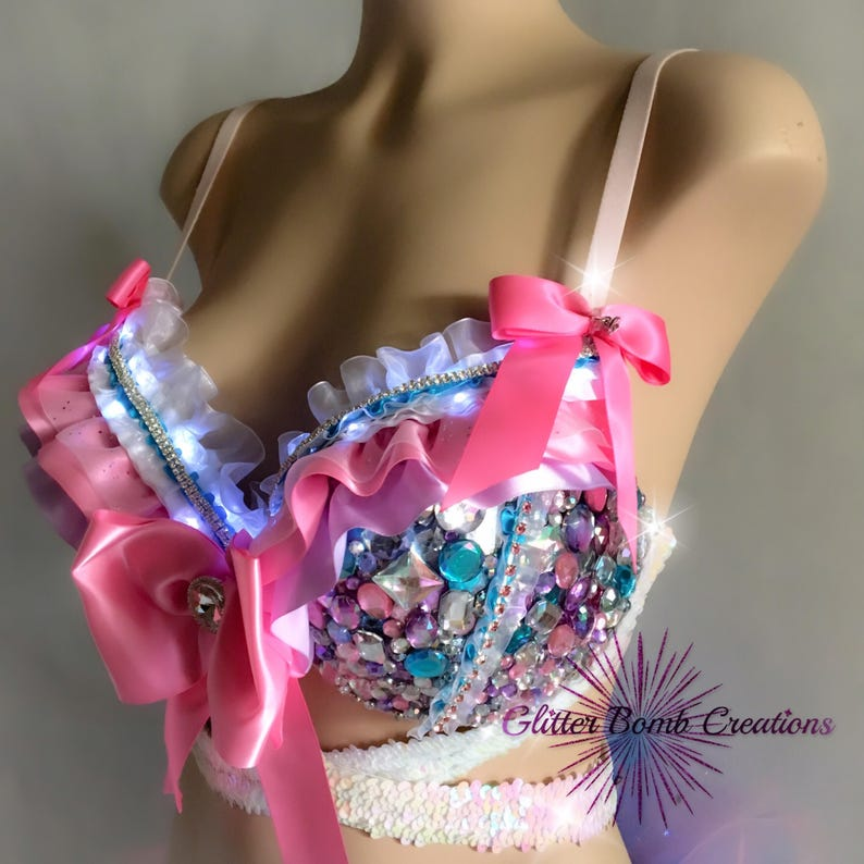 Pink and Purple Light-up Festival Costume Princess Bling Led Rhinestone Rave Bra and Half Tutu Bustle Edm Festival Outfit MADE TO ORDER