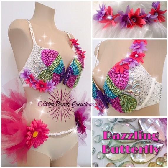 Made to order floral goddess glitter bra plus light up half tutu