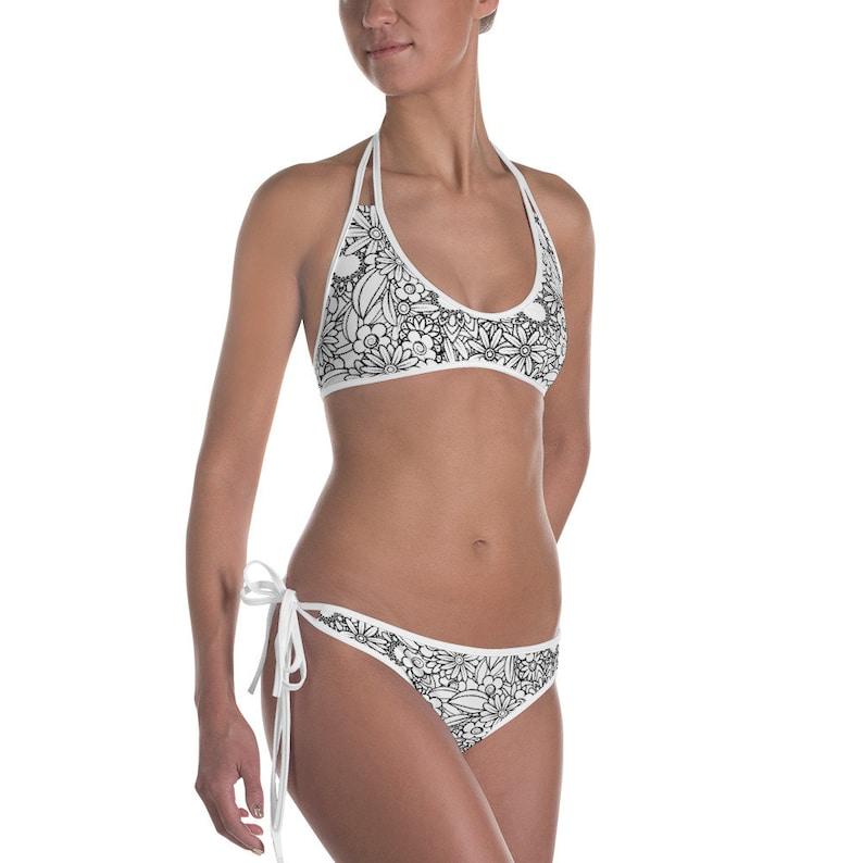 06ed159d3 Bikini 2 piece bathing suit floral pattern black and white | Etsy